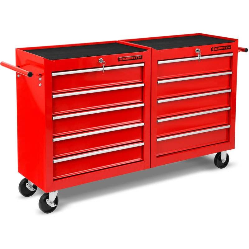 Eberth - Chariot a outils (10 tiroirs sur roulements à billes, verrouillable, 4