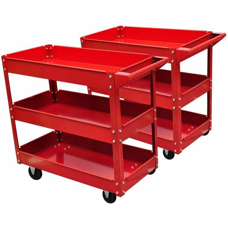 HOMMOO Chariot servante d'atelier 100 kg rouge HDV03450