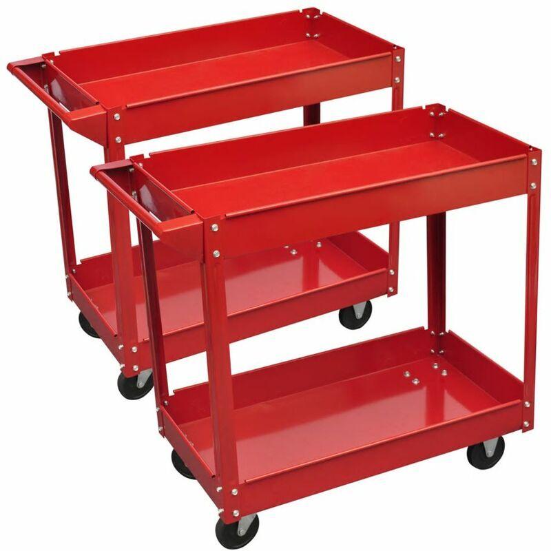 Zqyrlar - Chariot servante d'atelier charge 100 kg rouge (lot de 2)