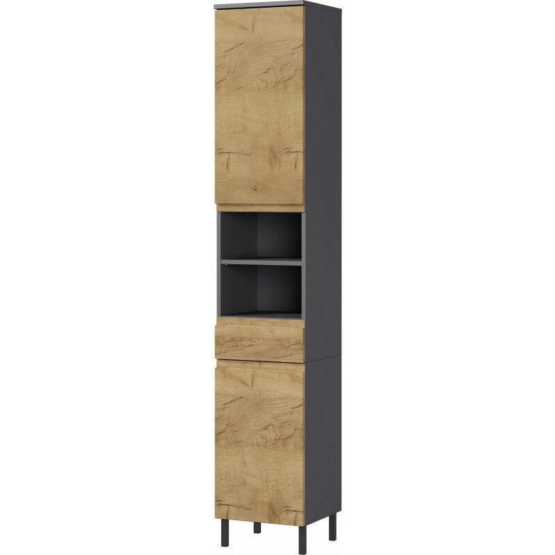 DELADECO Colonne de salle de bain moderne H 190 cm Stanislas Chêne - Blanc ou