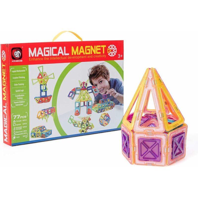 COSTWAY 77 PCS Blocs de Constructions Magnétiques pour Enfants, Jeux