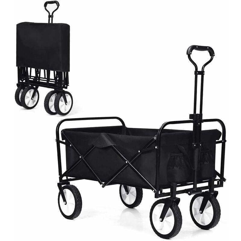 COSTWAY Chariot de Jardin Pliable Remorque de Jardin avec 4 Roues Lisse (2 avec Freins)