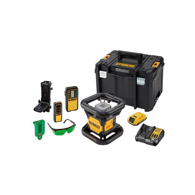 STANLEY DeWALT DCE079D1G Niveau laser rotatif double pente extérieur 18V + accessoires