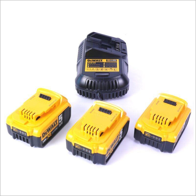 DeWalt Starter Kit DCB105P3-QW 18V: 3x Batteries DCB 184 5,0 Ah + 1x Chargeur