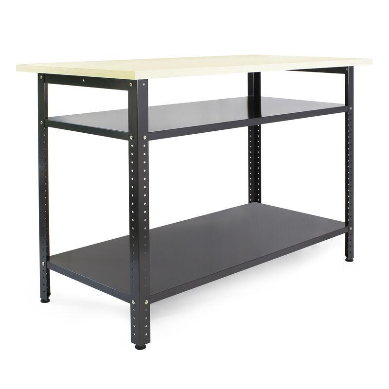 WILTEC Établi atelier 120x60x85cm Plan travail Table emballage Rangement outils Garage