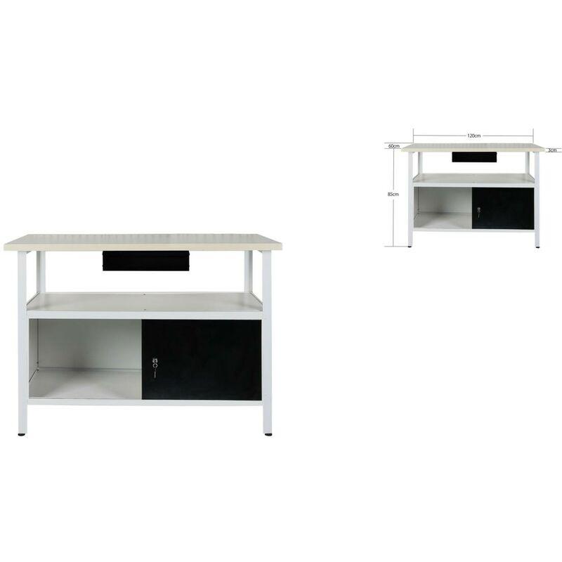 BIGB Établi atelier / Plan de travail + tiroir 120x60x85 cm - Bois et Acier