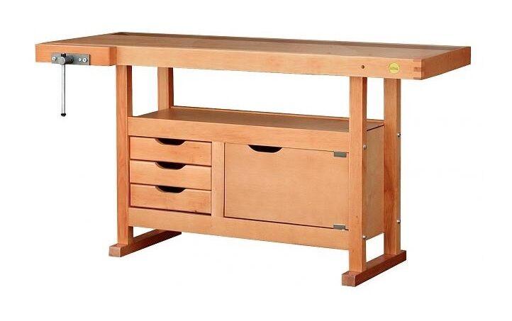 Outifrance – Etabli bois de menuisier L: 1,50m 3 tiroirs 1 porte + Presse