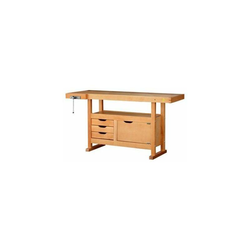Outifrance - Etabli bois 1.5 x 0.5M 3 tiroirs + presse