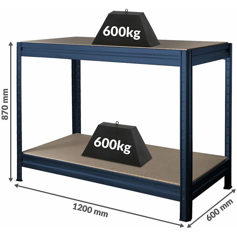 CERTEO Établi réglable en hauteur   Charge max. 600 kg   HxLxP 870 x 1200 x 600 mm