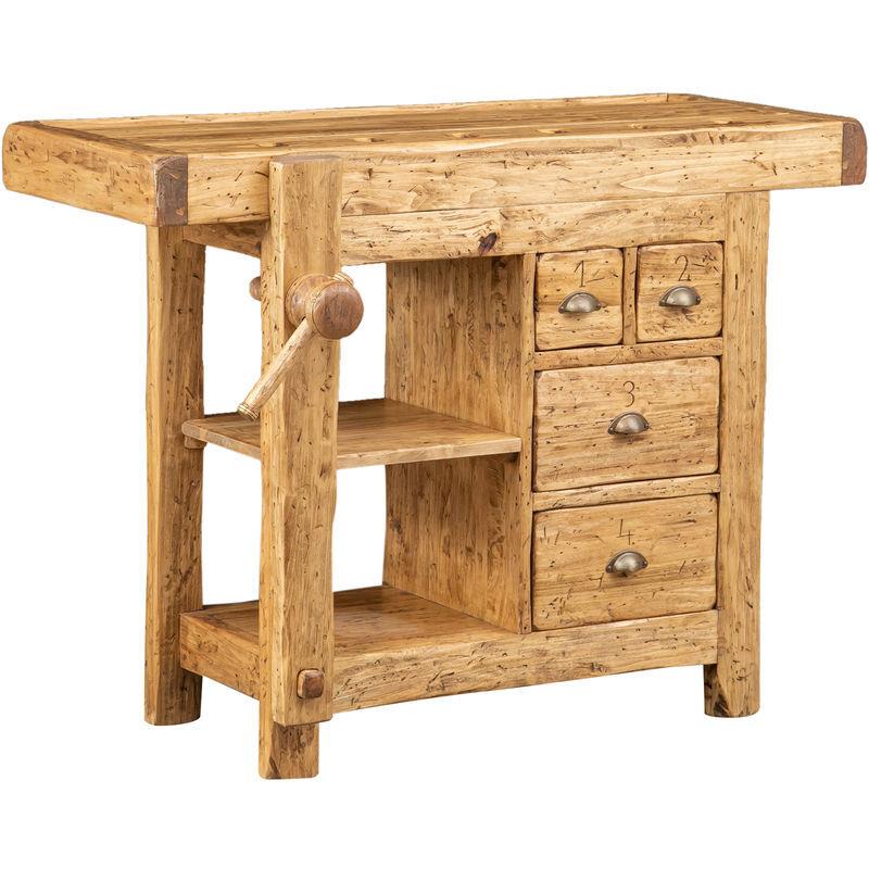 Biscottini - Etabli rustique style en bois massif de tilleul finition naturelle