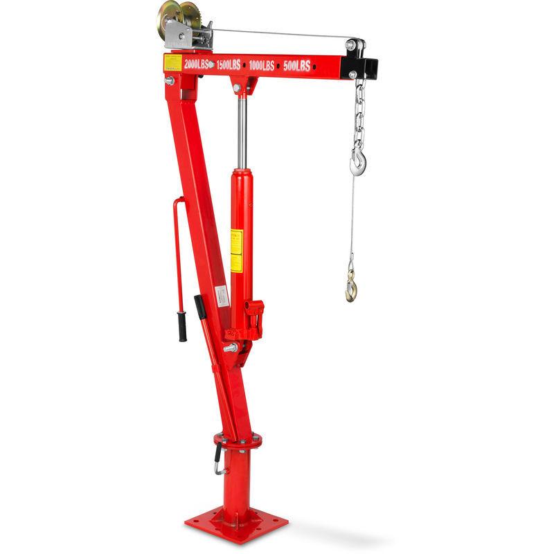 EBERTH 900 kg Grue de levage hydraulique avec Treuil (Chaîne et un Crochet, 1900 mm