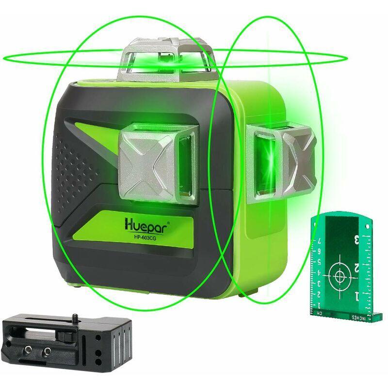 Huepar 603CG 3 x 360 Niveau Laser Croix Vert, Ligne Laser Auto-nivellement avec