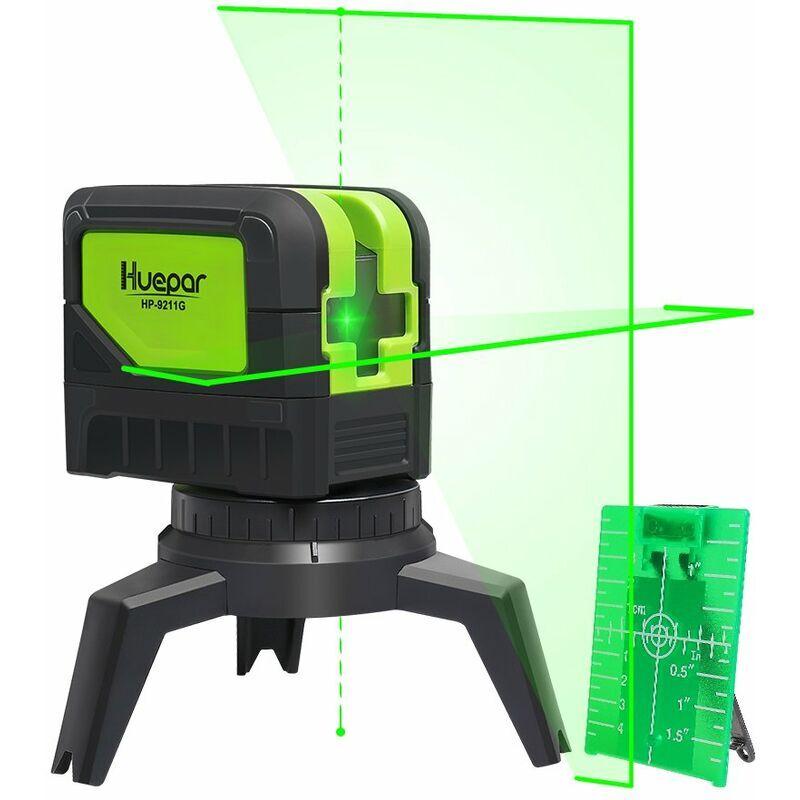 Huepar 9211G Niveau Laser Croix Vert avec 2 Points Laser, DIY Ligne Laser avec