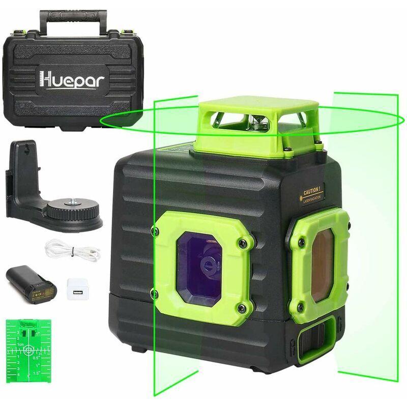 Huepar Niveau Laser Multi-lignes avec Batterie Li-ion Rechargeable, Niveau