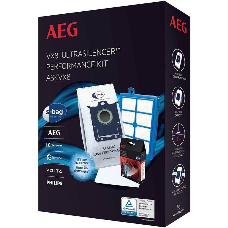 AEG Kit performance & entretien VX8 (4 sacs, 1 filtre moteur, 1 filtre hygienique,
