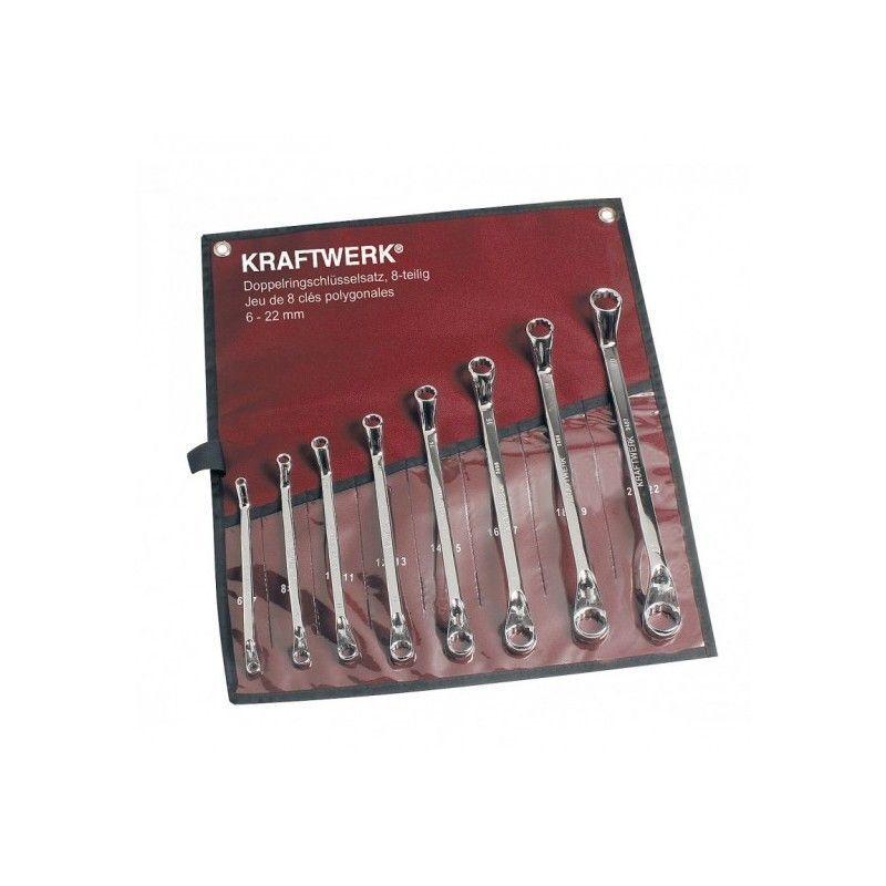 Kraftwerk - KRA3497R. Jeu de 8 Clés polygonales contre-coudées 6 à 22mm en
