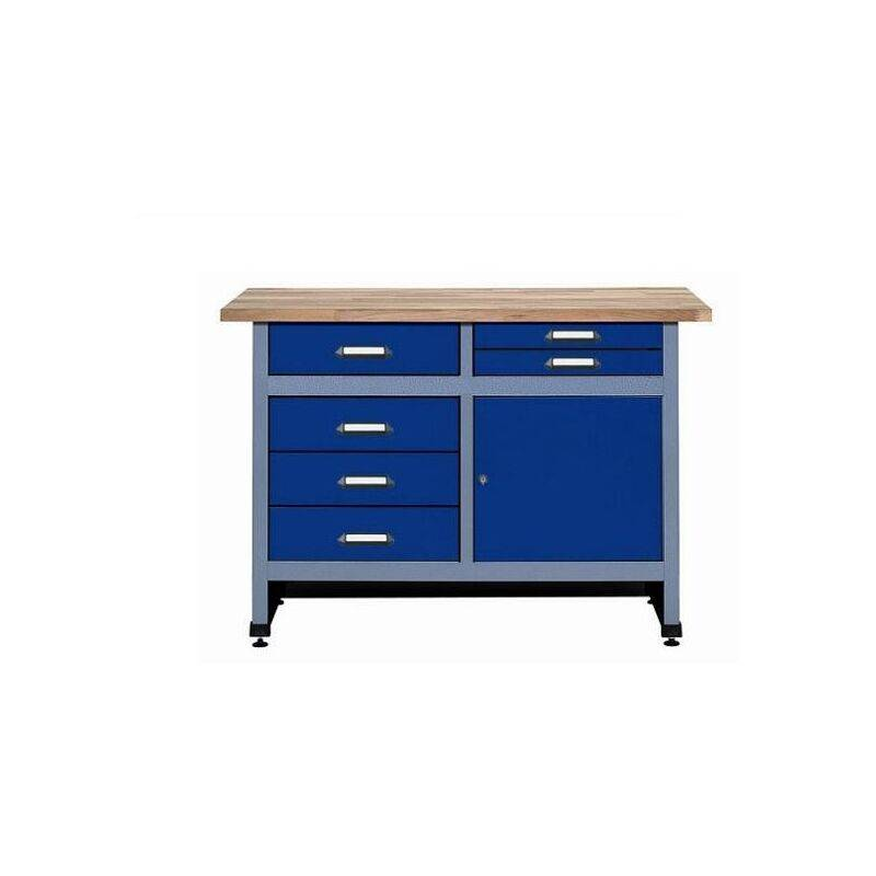 Kupper - Etabli 1 porte et 6 tiroirs L:1,2 m - Bleu marine 12247
