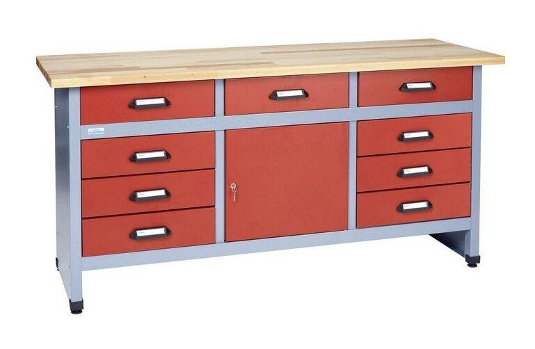 KUPPER – Etabli 1 porte verrouillable et 9 tiroirs Rouge Longueur 1,70m - Kupper