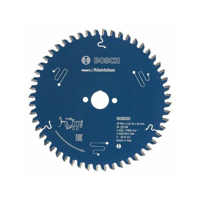 Bosch Lame de scie circulaire Expert for Aluminium, 165 x 30 x 2,6 mm, 52