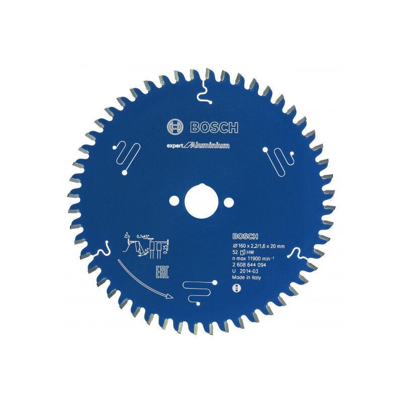 BOSCH Lame scie circulaire Expert Alu BOSCH 52 dents 160x20x2,2/1,6 mm - 2608644094