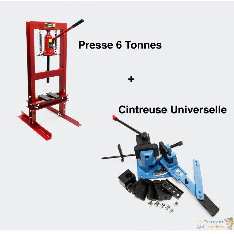 WWW.LEPOISSONQUIJARDINE.FR Lot : Cintreuse Plieuse Universelle Et Presse Hydraulique 6T Pour Métaux - Rouge