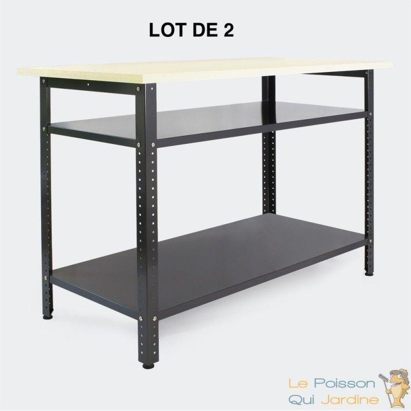 WWW.LEPOISSONQUIJARDINE.FR Lot De 2 Établis Ou Tables De Travail En Métal Et Plan De Travail - 120 X 60 X