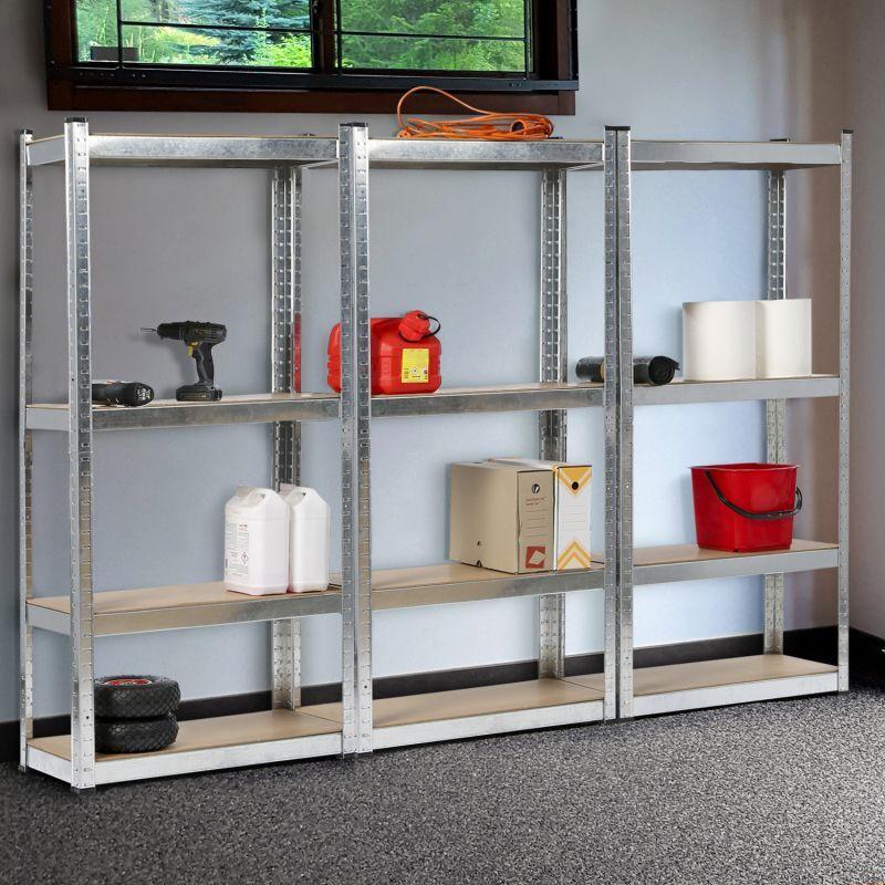IDMARKET Lot de 3 étagères modulables charges lourdes H. 150 CM 12 plateaux