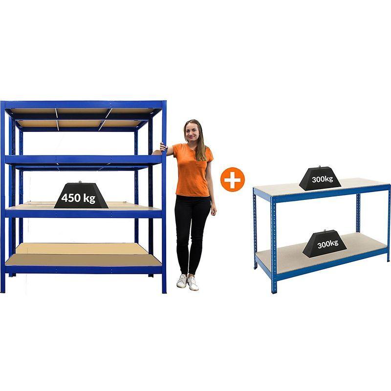 Certeo - Mega Deal   2x étagères métalliques pour charges lourdes - Profondeur