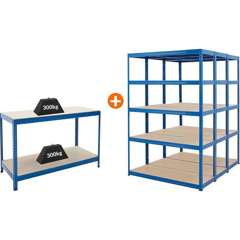 Certeo - Mega Deal   3x étagères métalliques pour charges lourdes - Profondeur