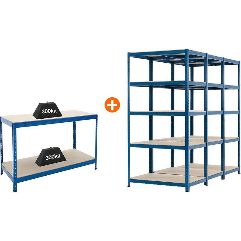 CERTEO Mega Deal   3x étagères métalliques pour charges lourdes - Profondeur 60 cm et