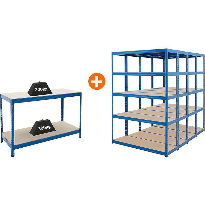 Certeo - Mega Deal   4x étagères métalliques pour charges lourdes - Profondeur