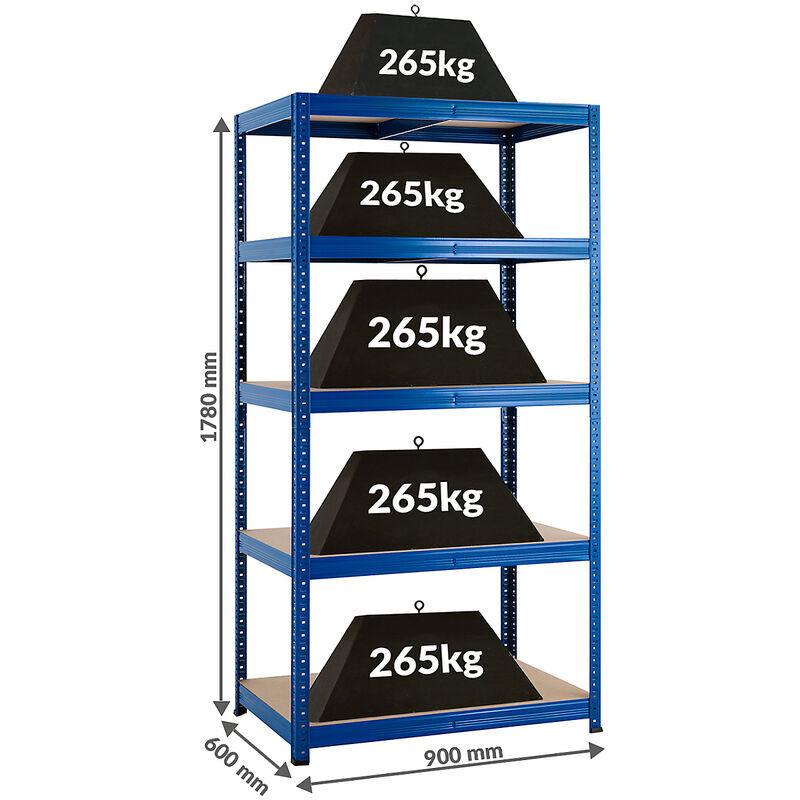 CERTEO Mega Deal   5x étagères métalliques pour charges lourdes - Profondeur 60 cm et