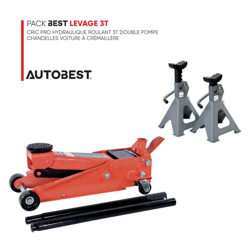 Autobest - Pack BEST LEVAGE 3T Cric Pro hydraulique roulant double pompe et