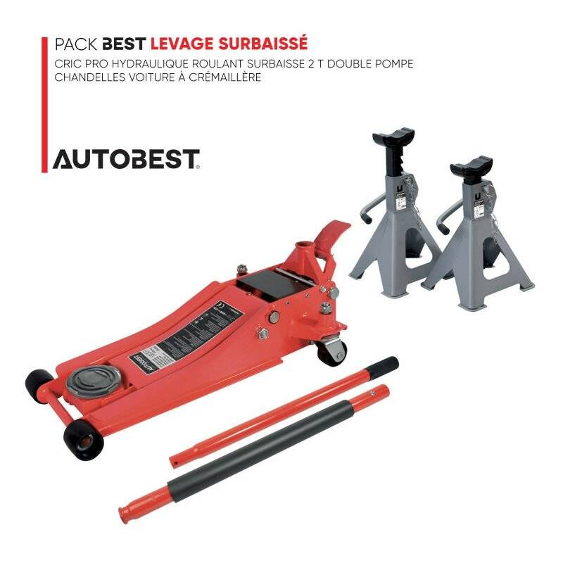 AUTOBEST Pack BEST LEVAGE SURBAISSÉ Cric pro hydraulique roulant surbaisse 2 t double