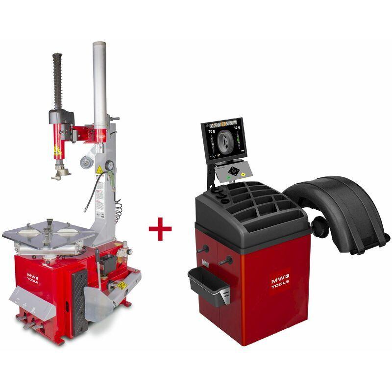 MW-TOOLS Pack démonte-pneu BT200 3x380V et équilibreuse de roues BB350 220V BT200 SET3
