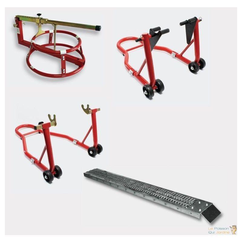 LE POISSON QUI JARDINE Pack lot béquilles d'atelier, démonte pneu, rampe droite pour piste moto
