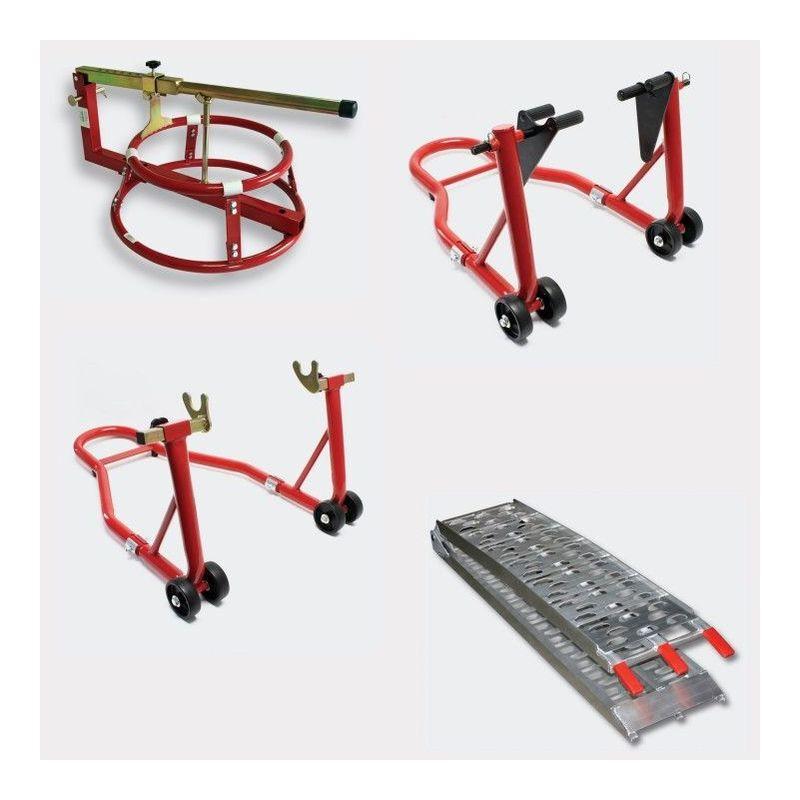 LE POISSON QUI JARDINE Pack lot béquilles d'atelier, démonte pneu, rampe pliable pour piste moto