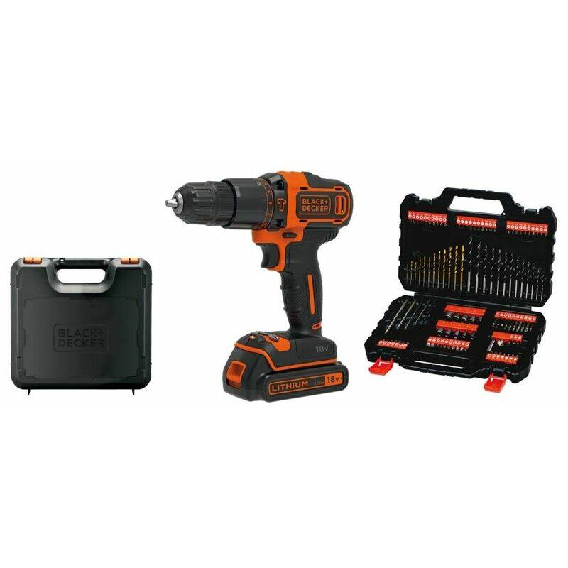BLACK & DECKER Black&decker; - Perceuse sans fil 18V Lithium 1,5 Ah Black + Decker + Coffret