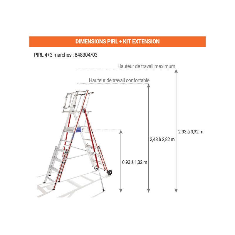 ESCABEAU PIRL - MATISERE Escabeau Pirl-matisere - PIRL télescopique - 4 marches + Kit d'extension 3