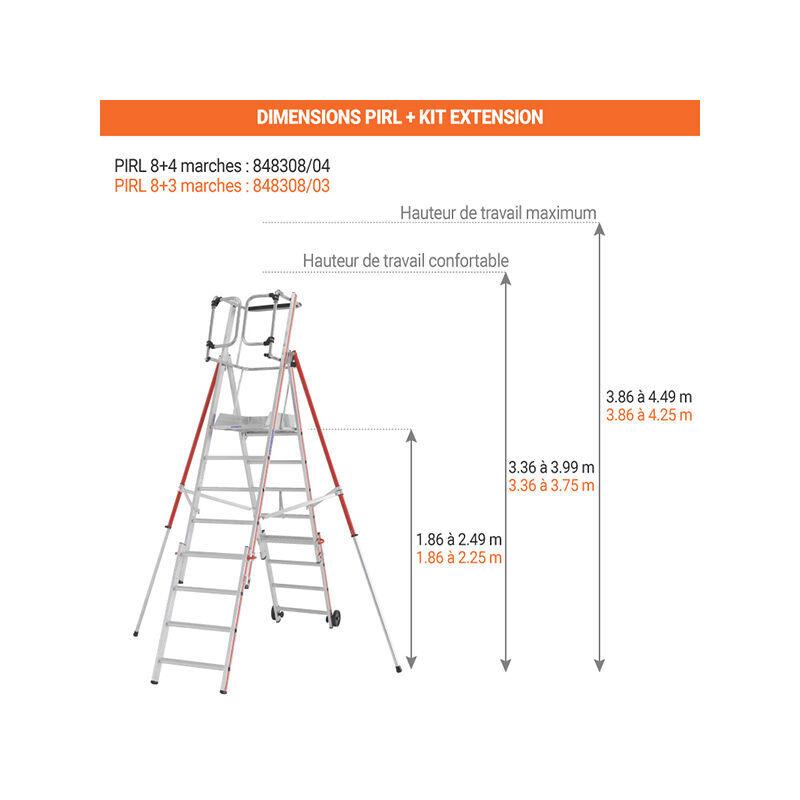 ESCABEAU PIRL - MATISERE Escabeau Pirl-matisere - A. Escabeau télescopique de 8 marches avec kit