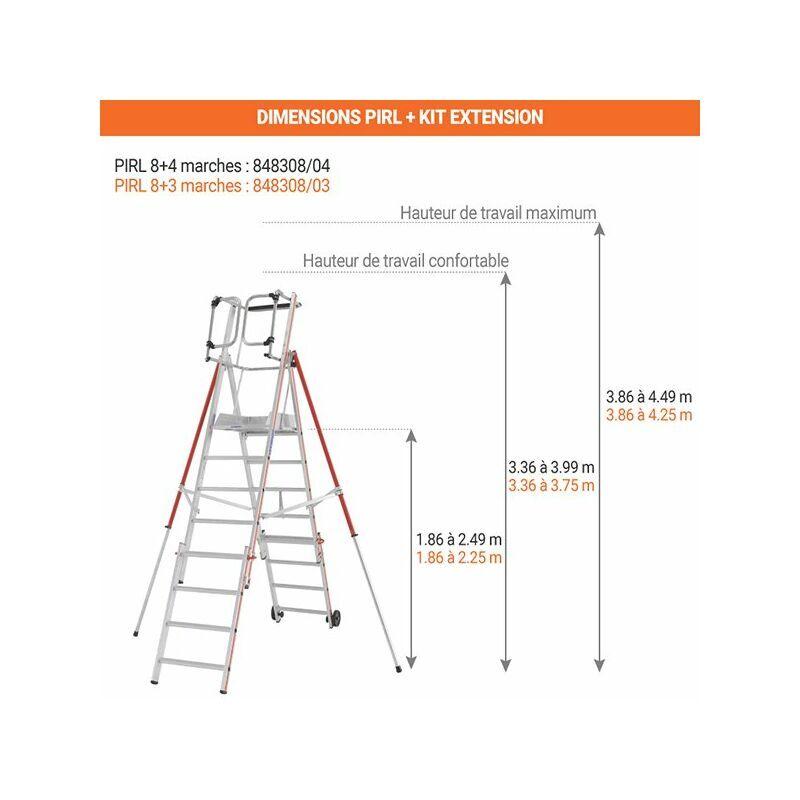 ESCABEAU PIRL - MATISERE B. Escabeau télescopique de 8 marches avec kit d'extension 4 marches