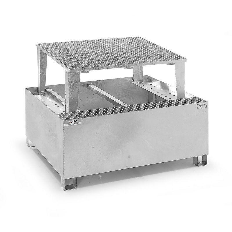 QUIPO Cuve de rétention en acier pour cubitainers IBC/KTC, pour 1 cubitainer de 1000