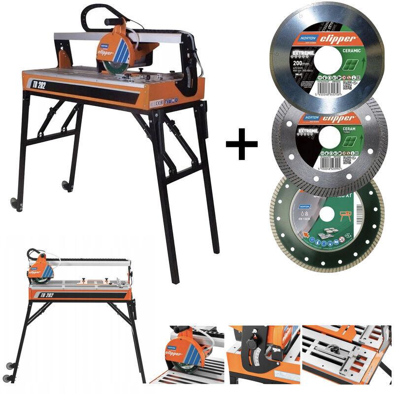 NORTON CLIPPER Scie de carrelage sur table Ø 200 mm 900 W TR202 avec 3x disque diamant