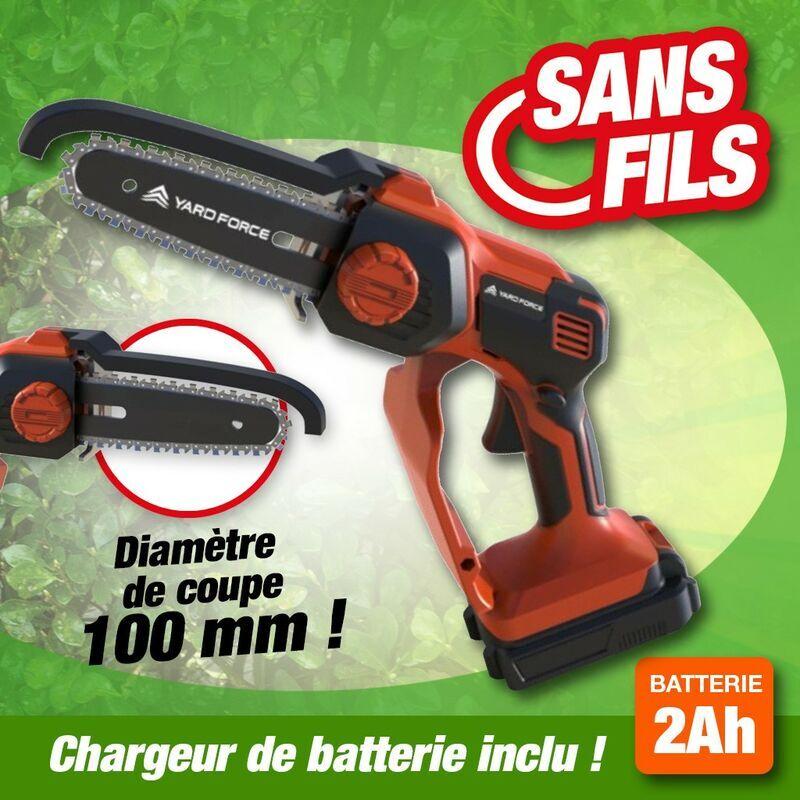 OUTIROR Scie de Jardin électrique sans fil à batterie rechargeable moteur 20 V.