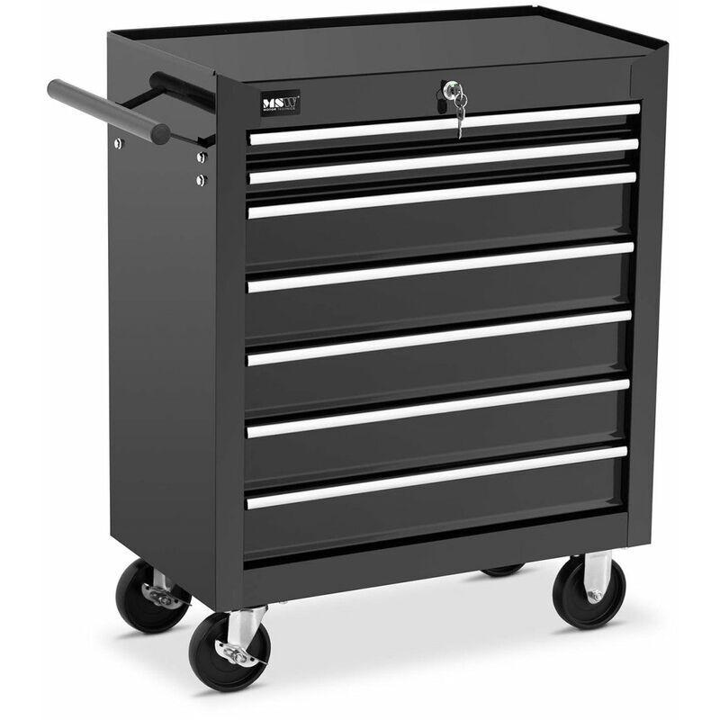 Helloshop26 - Servante d'atelier 7 tiroirs 60 kg verrouillable noir - Noir
