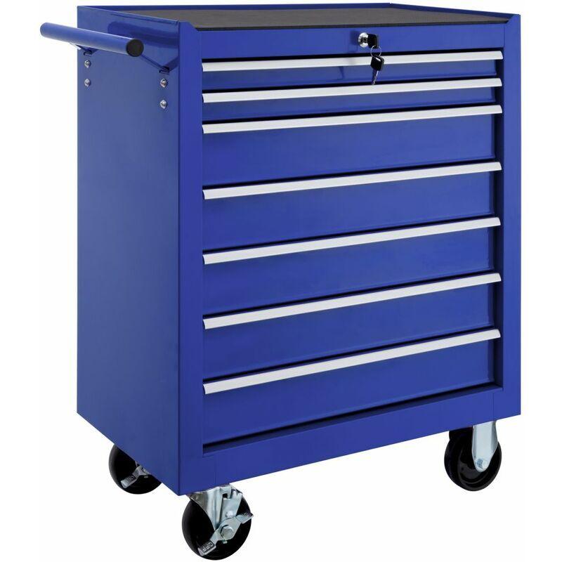 Helloshop26 - Servante d'atelier 7 tiroirs bleu - Bleu