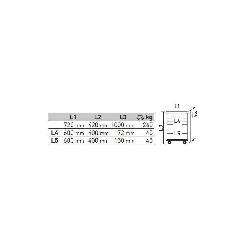 KRAFTWERK Servante d'atelier Basic Line B107 60/40 KRAFTWERK + 304 pièces - 101.107.102