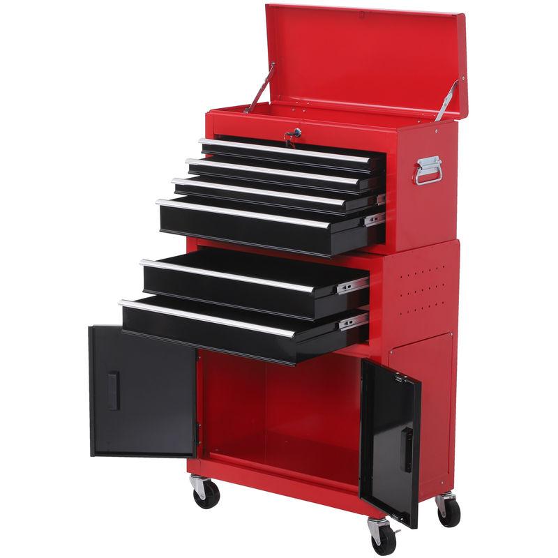 HOMCOM Servante d'atelier servante/ caisse à outil 6 tiroir +1 commode coffre amovible