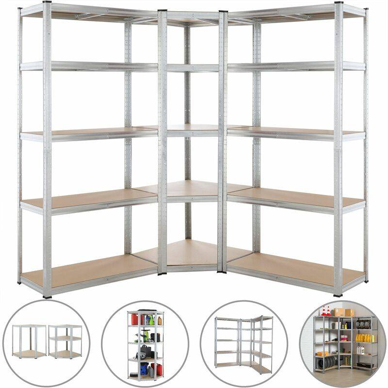 MONZANA Set de 3 étagères charges lourdes 875 kg par étagère 15 plateaux acier zingué