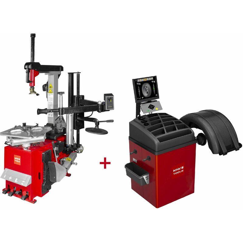 MW-TOOLS Set démonte-pneu BT300H 3x380V + équilibreuse de roues BB500 220V MW-Tools